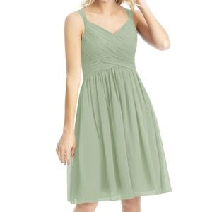 Azazie Mikaela Dress - Dusty Sage, Size 4